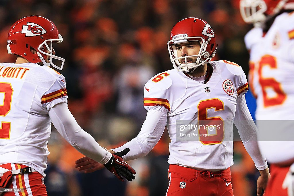 Ryan Succop #6 of the Kansas City Chiefs celebrates after kicking a 19-yard field goal in the second quarter at Sports Authority Field at Mile High on November 17, 2013 in Denver, Colorado.