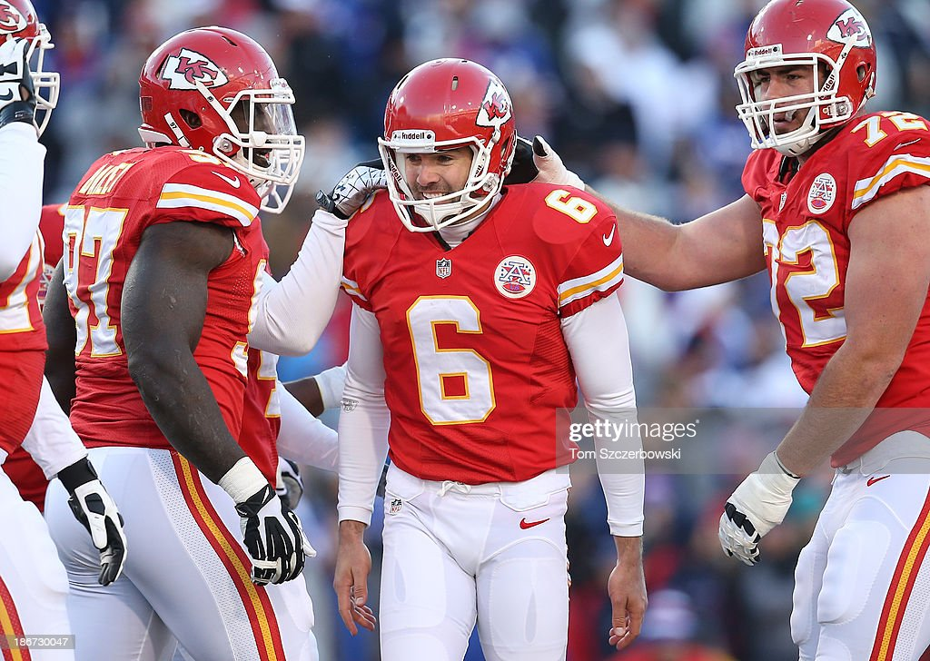 <a gi-track='captionPersonalityLinkClicked' href=/galleries/search?phrase=Ryan+Succop&family=editorial&specificpeople=4032420 ng-click='$event.stopPropagation()'>Ryan Succop</a> #6 of the Kansas City Chiefs is congratulated by teammates after kicking a field goal in the fourth quarter during NFL game action against the Buffalo Bills at Ralph Wilson Stadium on November 3, 2013 in Orchard Park, New York.