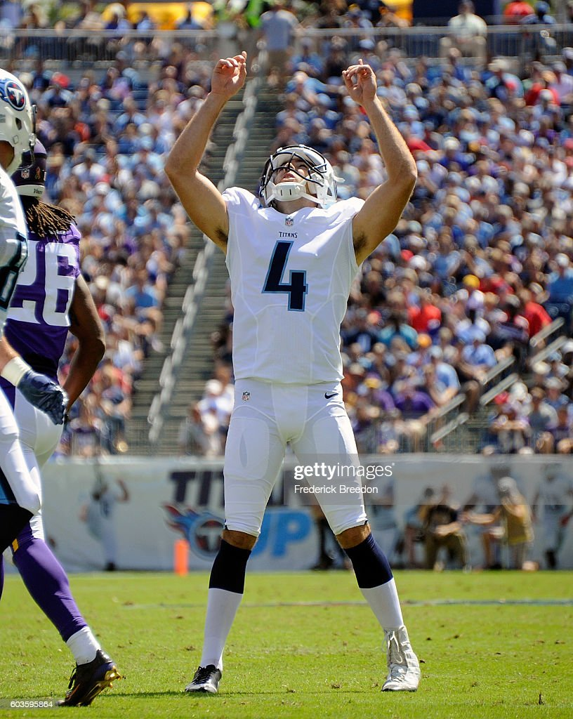 Ryan Succop #4 of the Tennessee Titans reacts after kicking a field goal against the Minnesota Vikings during the first half at Nissan Stadium on September 11, 2016 in Nashville, Tennessee.