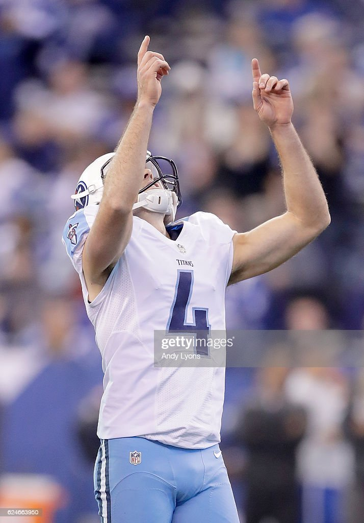 Ryan Succop #4 of the Tennessee Titans reacts after making a field goal during the second half of the game against the Indianapolis Colts at Lucas Oil Stadium on November 20, 2016 in Indianapolis, Indiana.