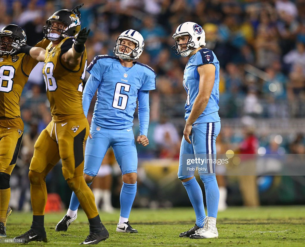 Ryan Succop #4 of the Tennessee Titans reacts after missing a field goal during the second half of the game against the Jacksonville Jaguars at EverBank Field on November 19, 2015 in Jacksonville, Florida.