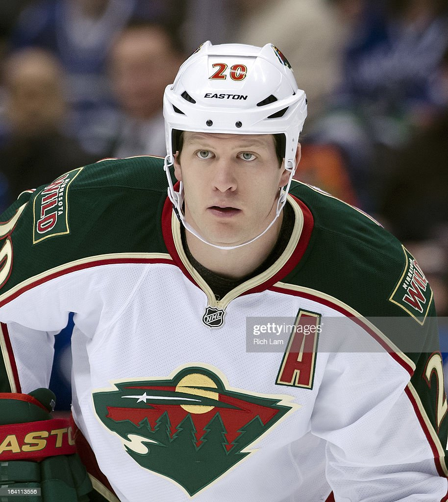 Ryan Suter #20 of the Minnesota Wild waits for a faceoff during NHL action against the Vancouver Canucks on March 18, 2013 at Rogers Arena in Vancouver, British Columbia, Canada.