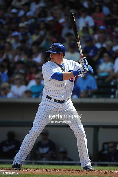 Ryan Sweeney of the Chicago Cubs bats against the Los Angeles Dodgers at Cubs Park on March 14 2014 in Mesa Arizona