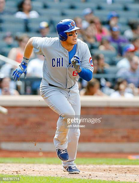 Ryan Sweeney of the Chicago Cubs in action against the New York Mets at Citi Field on August 17 2014 in the Flushing neighborhood of the Queens...