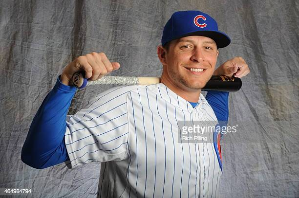 Ryan Sweeney of the Chicago Cubs poses for a portrait during Photo Day on March 2 2015 at Sloan Park in Mesa Arizona
