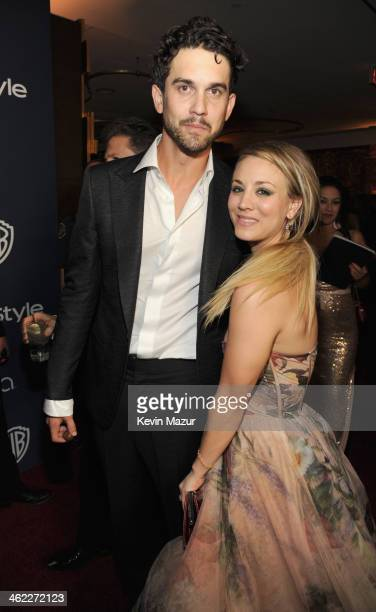 Ryan Sweeting and actress Kaley Cuoco attend the 2014 InStyle And Warner Bros 71st Annual Golden Globe Awards PostParty held at The Beverly Hilton...