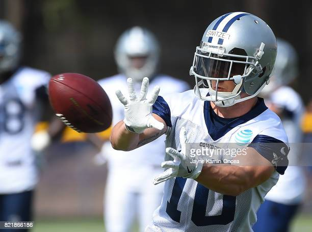Ryan Switzer of the Dallas Cowboys catches a pass during training camp on July 24 2017 in Oxnard California