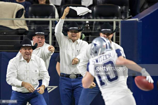 Ryan Switzer of the Dallas Cowboys runs the ball for a touchdown during a game against the Washington Redskins at ATT Stadium on November 30 2017 in...