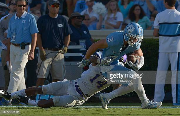 Ryan Switzer of the North Carolina Tar Heels makes a catch against the James Madison Dukes during the game at Kenan Stadium on September 17 2016 in...