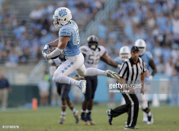 Ryan Switzer of the North Carolina Tar Heels makes a catch against the Pittsburgh Panthers during their game at Kenan Stadium on September 24 2016 in...