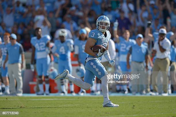 Ryan Switzer of the North Carolina Tar Heels makes a touchdown catch against the James Madison Dukes during the game at Kenan Stadium on September 17...
