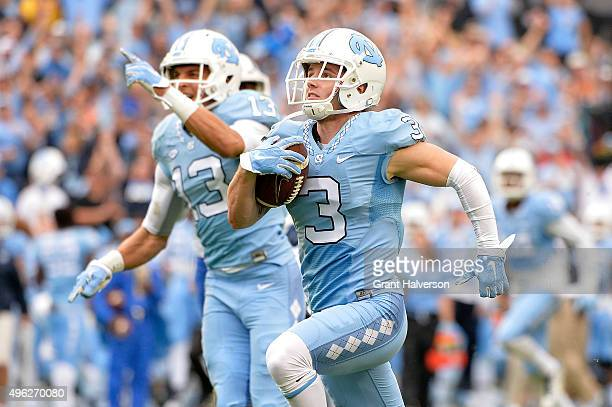 Ryan Switzer of the North Carolina Tar Heels runs for a touchdown against the Duke Blue Devils during their game at Kenan Stadium on November 7 2015...