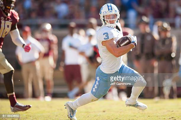 Ryan Switzer of the North Carolina Tar Heels runs the ball against of the Florida State Seminoles during the game at Doak Campbell Stadium on October...