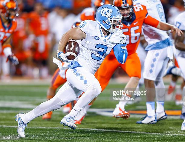 Ryan Switzer of the North Carolina Tar Heels runs the ball against the Illinois Fighting Illini at Memorial Stadium on September 10 2016 in Champaign...