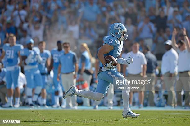 Ryan Switzer of the North Carolina Tar Heels runs untouched into the end zone for a touchdown against the James Madison Dukes during the game at...