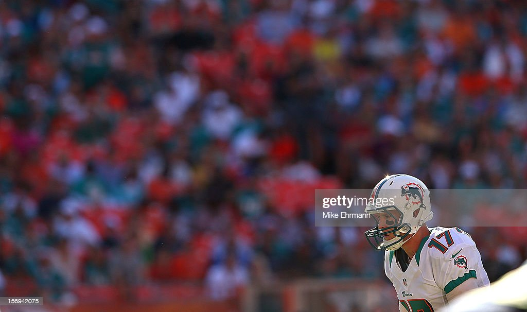 Ryan Tannehill #17 of the Miami Dolphins calls a play during a game against the Seattle Seahawks at Sun Life Stadium on November 25, 2012 in Miami Gardens, Florida.