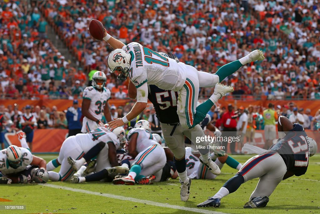 <a gi-track='captionPersonalityLinkClicked' href=/galleries/search?phrase=Ryan+Tannehill&family=editorial&specificpeople=5573174 ng-click='$event.stopPropagation()'>Ryan Tannehill</a> #17 of the Miami Dolphins dives for a touchdown during a game against the New England Patriots at Sun Life Stadium on December 2, 2012 in Miami Gardens, Florida.