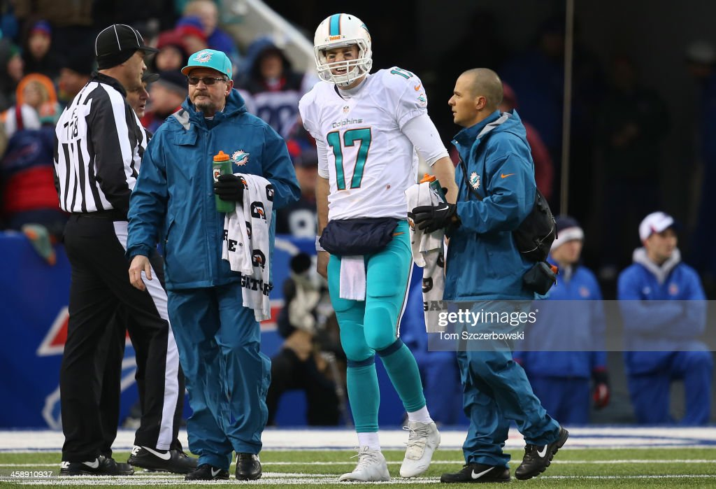 <a gi-track='captionPersonalityLinkClicked' href=/galleries/search?phrase=Ryan+Tannehill&family=editorial&specificpeople=5573174 ng-click='$event.stopPropagation()'>Ryan Tannehill</a> #17 of the Miami Dolphins exits the game after suffering an injury before returning during NFL game action against the Buffalo Bills at Ralph Wilson Stadium on December 22, 2013 in Orchard Park, New York.