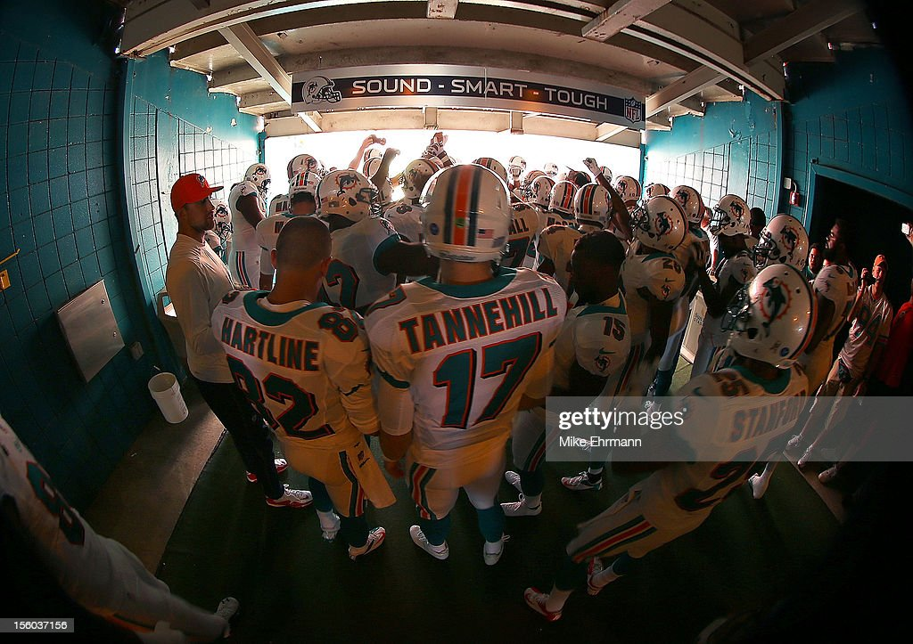 <a gi-track='captionPersonalityLinkClicked' href=/galleries/search?phrase=Ryan+Tannehill&family=editorial&specificpeople=5573174 ng-click='$event.stopPropagation()'>Ryan Tannehill</a> #17 of the Miami Dolphins gets ready to take the field during a game against the Tennessee Titans at Sun Life Stadium on November 11, 2012 in Miami Gardens, Florida.