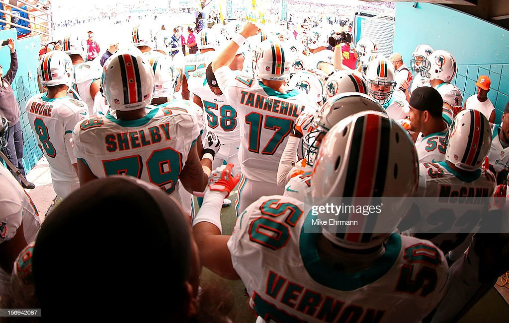<a gi-track='captionPersonalityLinkClicked' href=/galleries/search?phrase=Ryan+Tannehill&family=editorial&specificpeople=5573174 ng-click='$event.stopPropagation()'>Ryan Tannehill</a> #17 of the Miami Dolphins gets ready totake the field during a game against the Seattle Seahawks at Sun Life Stadium on November 25, 2012 in Miami Gardens, Florida.