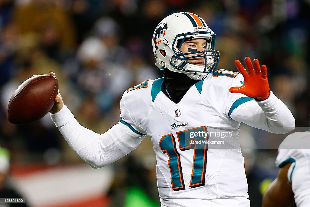 <a gi-track='captionPersonalityLinkClicked' href=/galleries/search?phrase=Ryan+Tannehill&family=editorial&specificpeople=5573174 ng-click='$event.stopPropagation()'>Ryan Tannehill</a> #17 of the Miami Dolphins throws a pass against the New England Patriots during the game at Gillette Stadium on December 30, 2012 in Foxboro, Massachusetts.