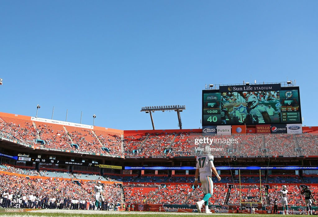 Ryan Tannehill #17 of the Miami Dolphins walks back to the huddle during a game against the Seattle Seahawks at Sun Life Stadium on November 25, 2012 in Miami Gardens, Florida.
