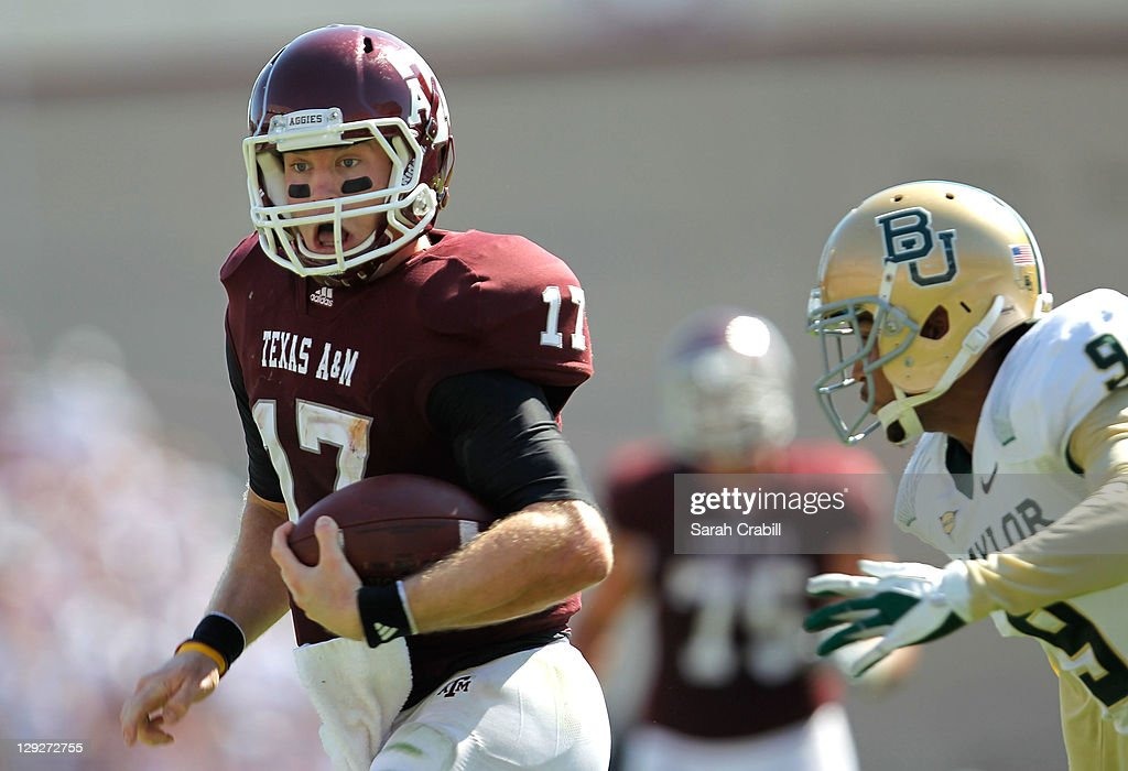Ryan Tannehill #17 of the Texas A&M Aggies runs during a game against the Baylor Bears at Kyle Field on October 15, 2011 in College Station, Texas. The Texas A&M Aggies defeated the Baylor Bears 55-28.