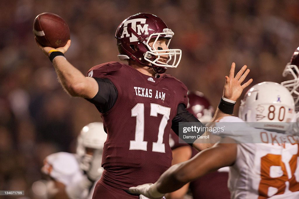 Ryan Tannehill #17 of the Texas A&M Aggies throws a pass against the Texas Longhorns in the second half of a game at Kyle Field on November 24, 2011 in College Station, Texas.