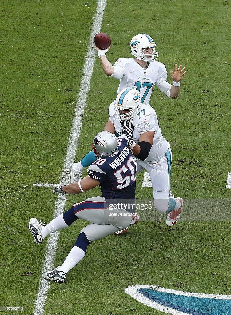 Ryan Tannehill throws the ball as Tyson Clabo of the Miami Dolphins defends against Rob Ninkovich of the New England Patriots on December 15 2013 at...