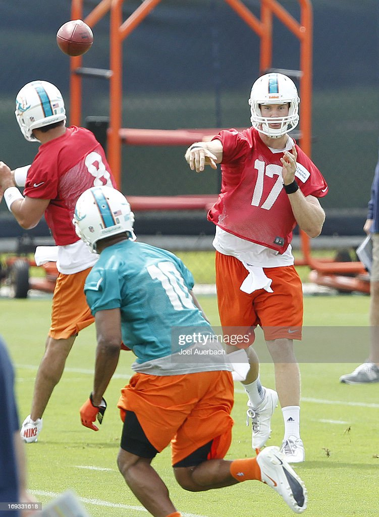 <a gi-track='captionPersonalityLinkClicked' href=/galleries/search?phrase=Ryan+Tannehill&family=editorial&specificpeople=5573174 ng-click='$event.stopPropagation()'>Ryan Tannehill</a> #17 throws the ball to Brandon Gibson #10 of the Miami Dolphins during the first team OTA on May 21, 2013 at the Miami Dolphins training facility in Davie, Florida.
