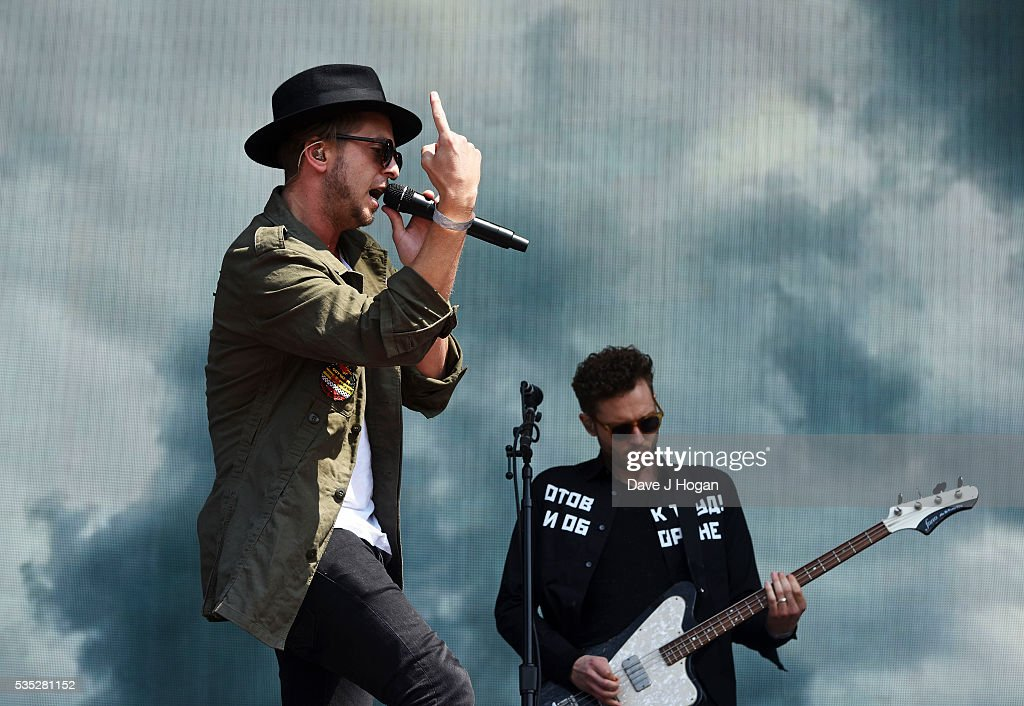Ryan Tedder (R) and Brent Kutzle of OneRepublic perform during day 2 of BBC Radio 1's Big Weekend at Powderham Castle on May 29, 2016 in Exeter, England.