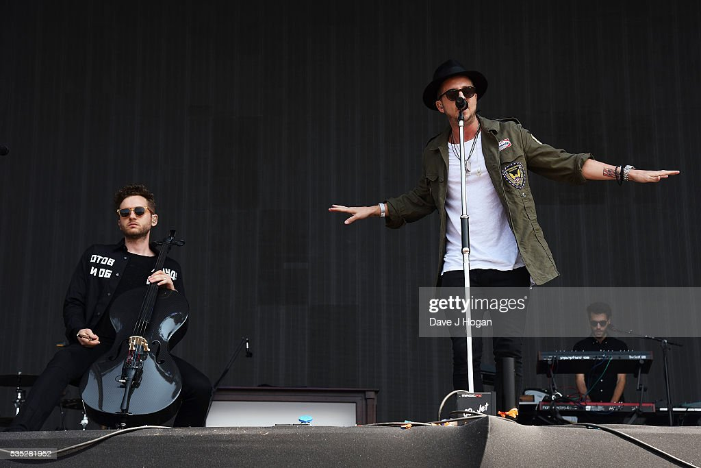 Ryan Tedder (L) and Brent Kutzle of OneRepublic perform during day 2 of BBC Radio 1's Big Weekend at Powderham Castle on May 29, 2016 in Exeter, England.