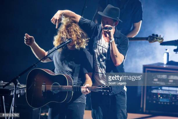 Ryan Tedder and Ryan Tedder of OneRepublic perform during the Honda Civic Tour at DTE Energy Music Theater on July 19 2017 in Clarkston Michigan