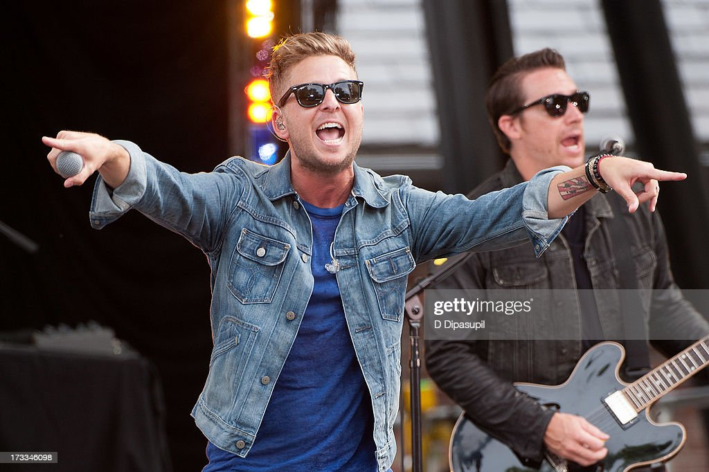 Ryan Tedder (L) and Zach Filkins of OneRepublic perform on ABC's 'Good Morning America' at Rumsey Playfield on July 12, 2013 in New York City.