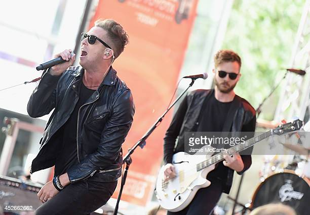Ryan Tedder and Zach Filkins of OneRepublic performs on NBC's 'Today' at the NBC's TODAY Show on July 25 2014 in New York New York