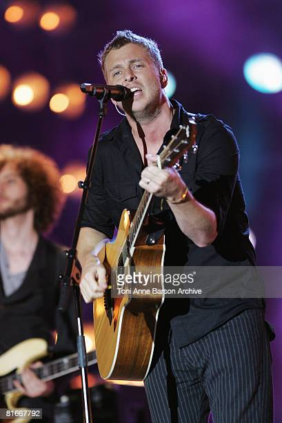 Ryan Tedder of One Republic performs at the France 2 Television's 'Fete de la Musique' at the Auteuil Horse track on June 21 2008 in Paris France