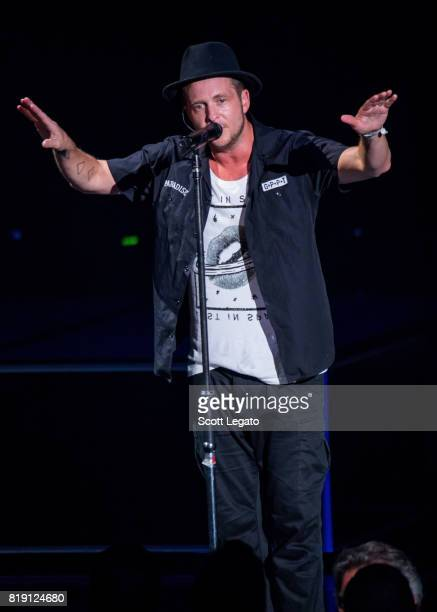 Ryan Tedder of OneRepublic performs during the Honda Civic Tour at DTE Energy Music Theater on July 19 2017 in Clarkston Michigan