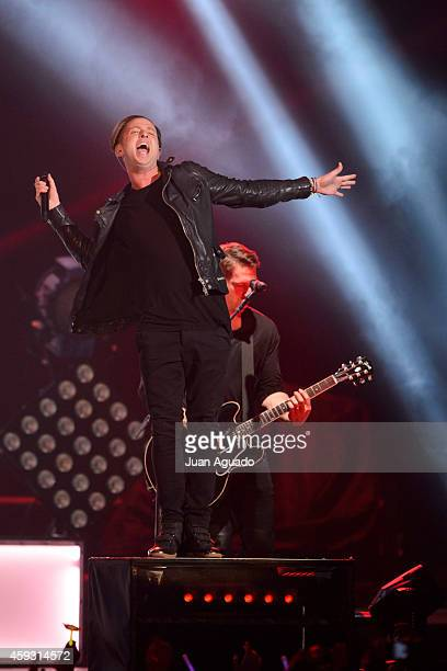 Ryan Tedder of OneRepublic performs on stage at Barclaycard Center on November 20 2014 in Madrid Spain