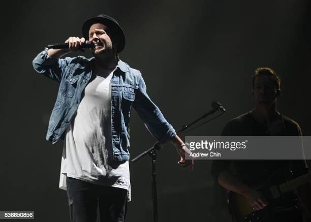 Ryan Tedder of OneRepublic performs on stage at Rogers Arena on August 21 2017 in Vancouver Canada