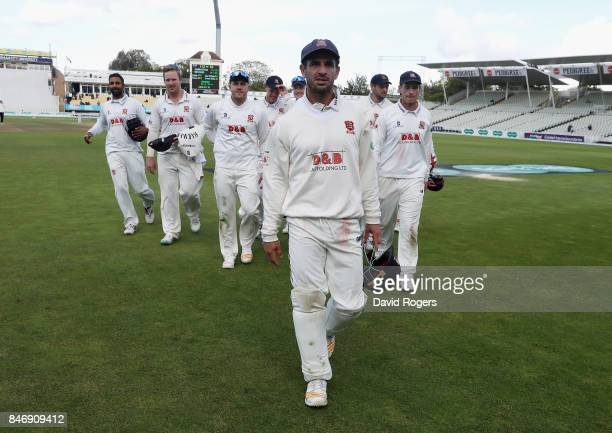 Ryan ten Doeschate the Essex captain leads his team off the pitch after their victory during the Specsavers County Championship Division One match...