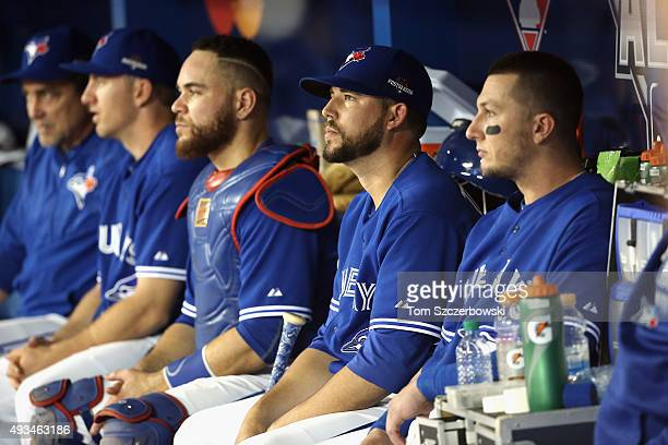 Ryan Tepera of the Toronto Blue Jays sits in the dugout in the eighth inning against the Kansas City Royals during game four of the American League...