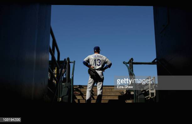 Ryan Theriot of the Los Angeles Dodgers stands in the dugout before their game with the San Francisco Giants at ATT Park on August 1 2010 in San...