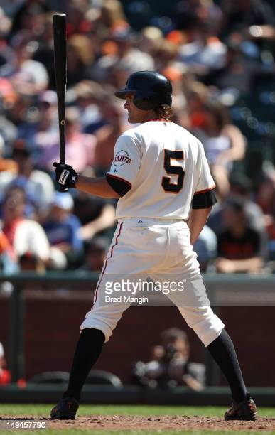 Ryan Theriot of the San Francisco Giants bats against the Los Angeles Dodgers during the game at ATT Park on Saturday July 28 2012 in San Francisco...