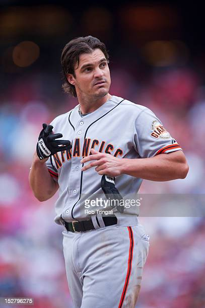 Ryan Theriot of the San Francisco Giants looks on during the game against the Philadelphia Phillies at Citizens Bank Park on July 21 2012 in...