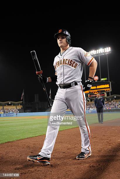 Ryan Theriot of the San Francisco Giants prepares to bat against the Los Angeles Dodgers at Dodger Stadium on May 8 2012 in Los Angeles California