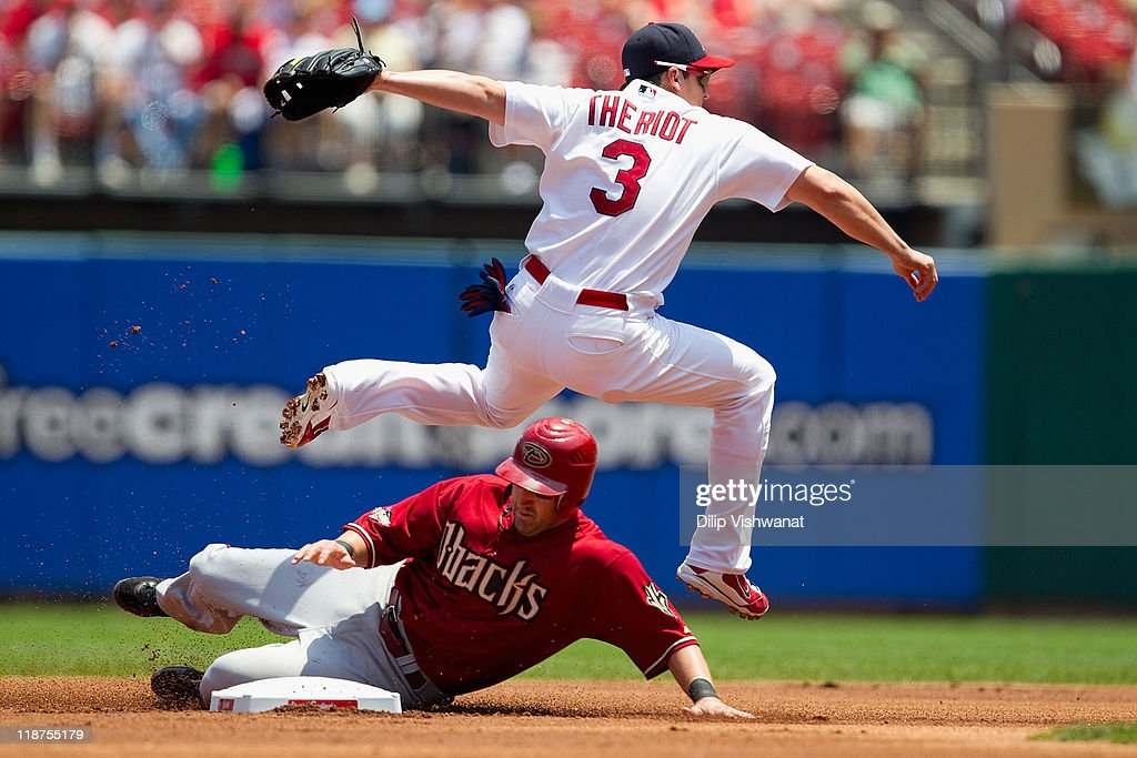 <a gi-track='captionPersonalityLinkClicked' href=/galleries/search?phrase=Ryan+Theriot&family=editorial&specificpeople=796597 ng-click='$event.stopPropagation()'>Ryan Theriot</a> #3 of the St. Louis Cardinals turns a double play over <a gi-track='captionPersonalityLinkClicked' href=/galleries/search?phrase=Willie+Bloomquist&family=editorial&specificpeople=214000 ng-click='$event.stopPropagation()'>Willie Bloomquist</a> #18 of the Arizona Diamondbacks at Busch Stadium on July 10, 2011 in St. Louis, Missouri. The Cardinals beat the Diamondbacks 4-2.