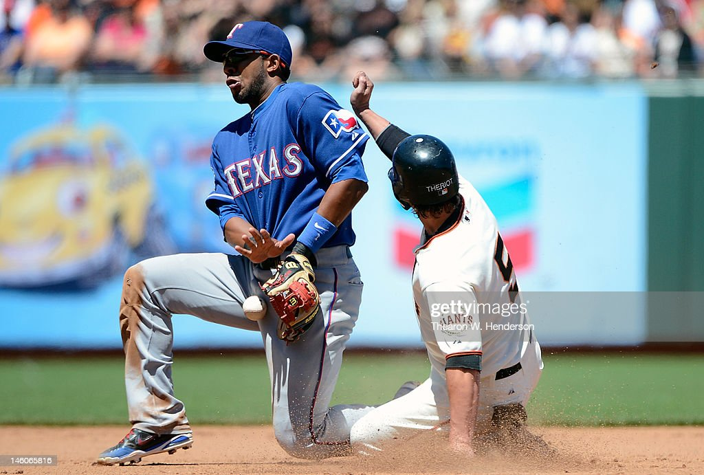 <a gi-track='captionPersonalityLinkClicked' href=/galleries/search?phrase=Ryan+Theriot&family=editorial&specificpeople=796597 ng-click='$event.stopPropagation()'>Ryan Theriot</a> #5 steals second base beating the throw to <a gi-track='captionPersonalityLinkClicked' href=/galleries/search?phrase=Elvis+Andrus&family=editorial&specificpeople=4845974 ng-click='$event.stopPropagation()'>Elvis Andrus</a> #1 of the Texas Rangers in the fifth inning at AT&T Park on June 9, 2012 in San Francisco, California.