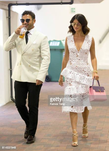 Ryan Thomas and Lucy Mecklenburgh attend day eleven of the Wimbledon Tennis Championships at the All England Lawn Tennis and Croquet Club on July 14...