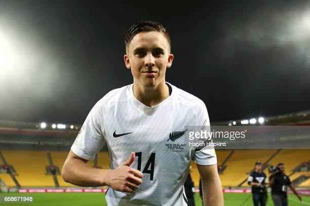 Ryan Thomas of New Zealand poses after the 2018 FIFA World Cup Qualifier match between the New Zealand All Whites and Fiji at Westpac Stadium on...