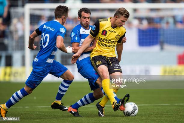 Ryan Thomas of PEC Zwolle Dirk Marcellis of PEC Zwolle Jorn Vancamp of Roda JC during the Dutch Eredivisie match between PEC Zwolle and Roda JC at...